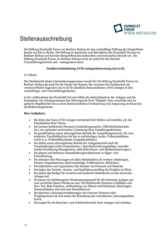 Stellenausschreibung Humboldt Forum Seite 1