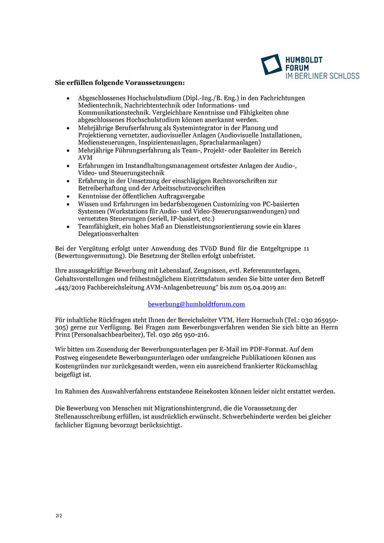 Stellenausschreibung Humboldt Forum Seite 2