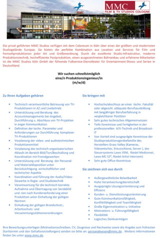 Stellenausschreibung ProduktionsingenieurIn MMC Film & TV Studios Cologne