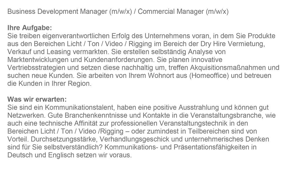Stellenanzeige AED Deutschland: Business Development Manager
