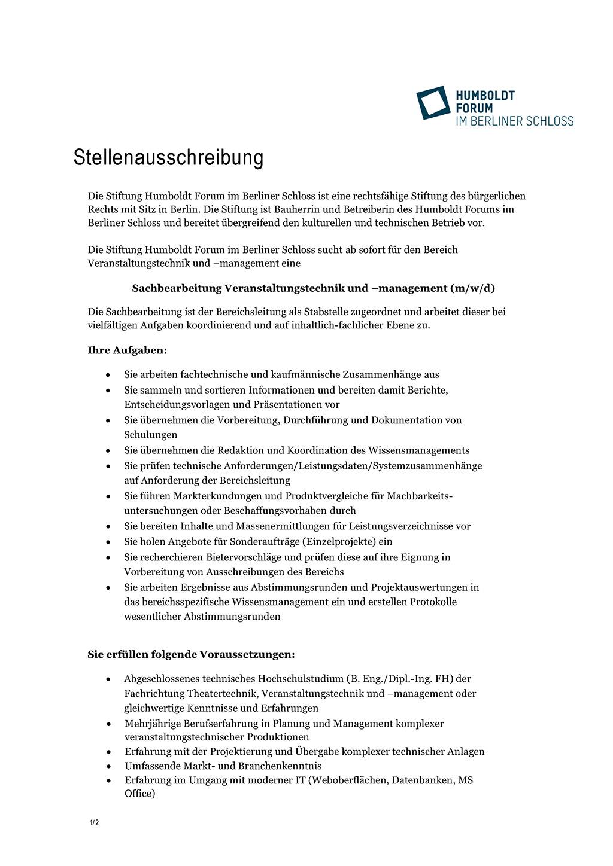 Stellenanzeige Humboldt Forum Berlin