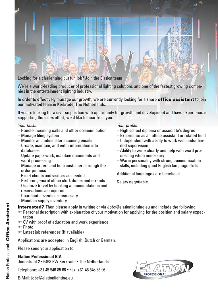 Elation Professional sucht Office Assistant