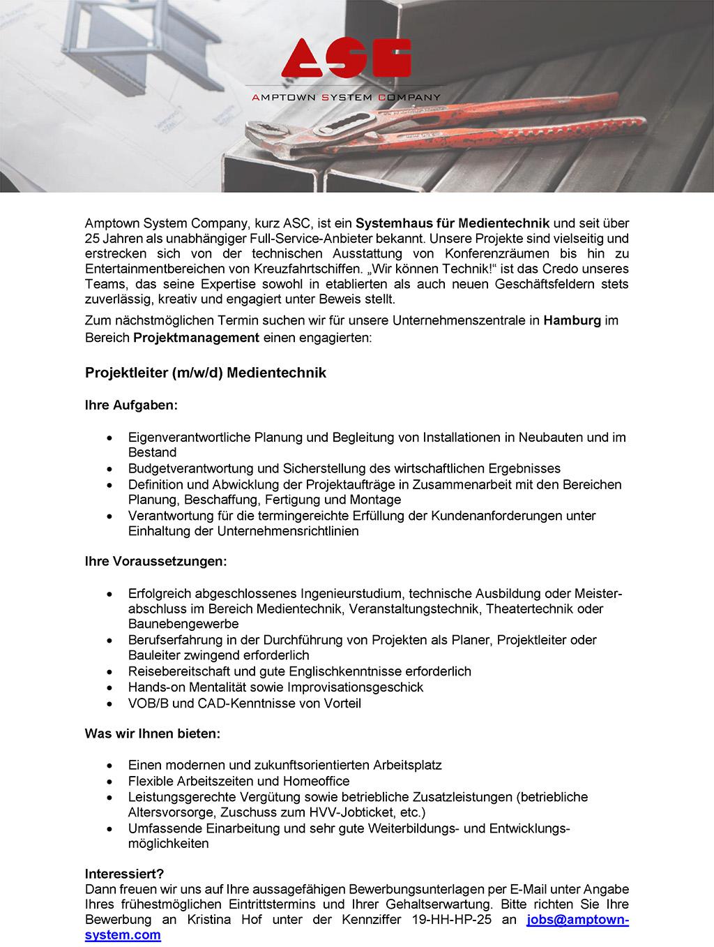 Stellenausschreibung ASC Projektleiter Medientechnik