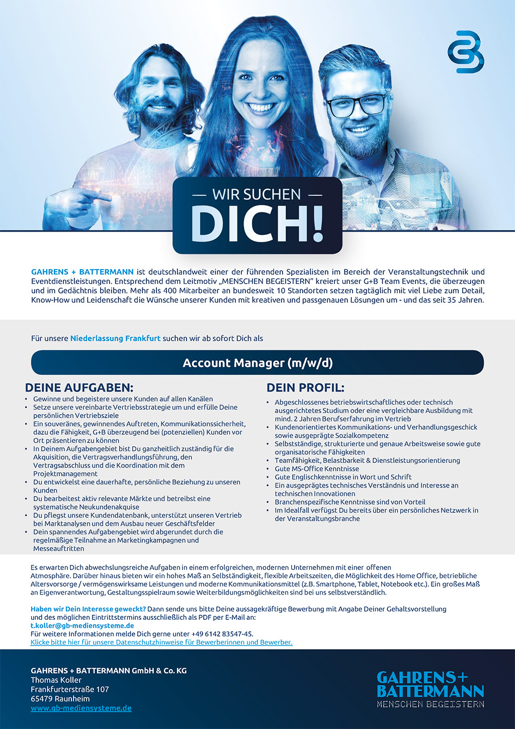 G+B sucht Account Manager in Frankfurt