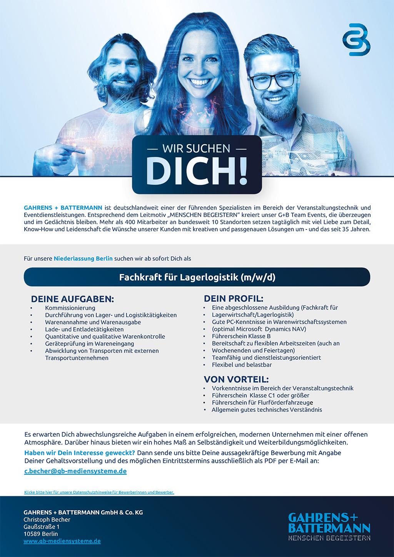 G+B sucht Fachkraft für Lagerlogistik in Berlin