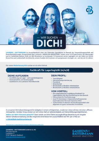 G+B sucht Fachkraft für Lagerlogistik in Köln
