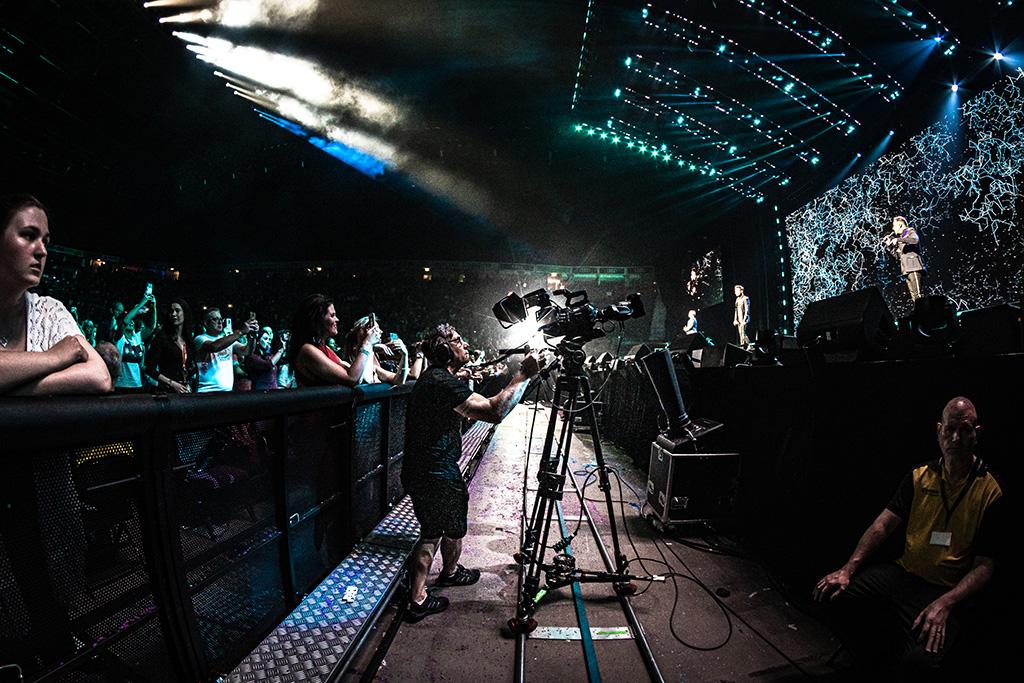 Bühnengraben mit Kameras