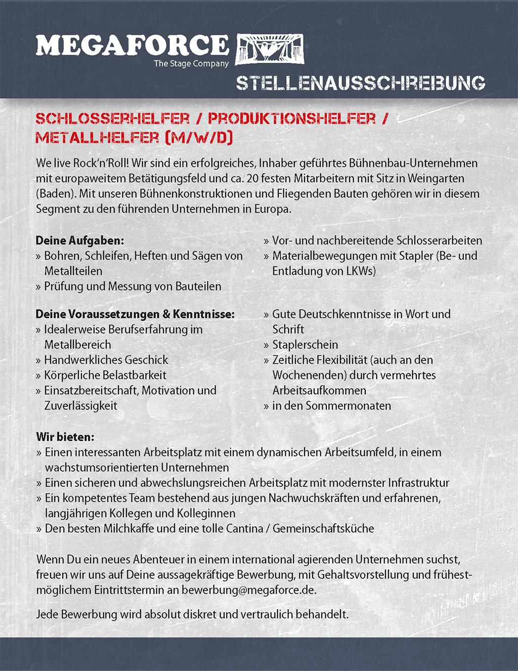Stellenanzeige Megaforce Schlosserhelfer
