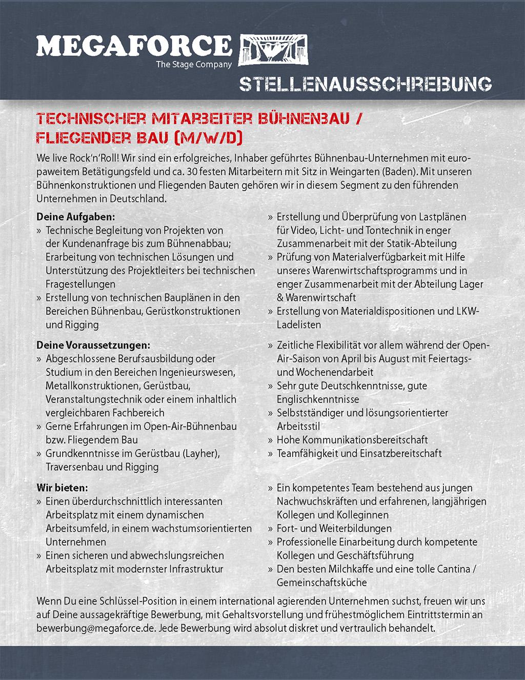 Stellenanzeige Megaforce Technischer Mitarbeiter Bühne