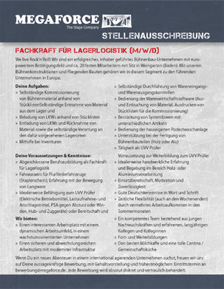 Stellenanzeige Megaforce: Fachkraft für Lagerlogistik
