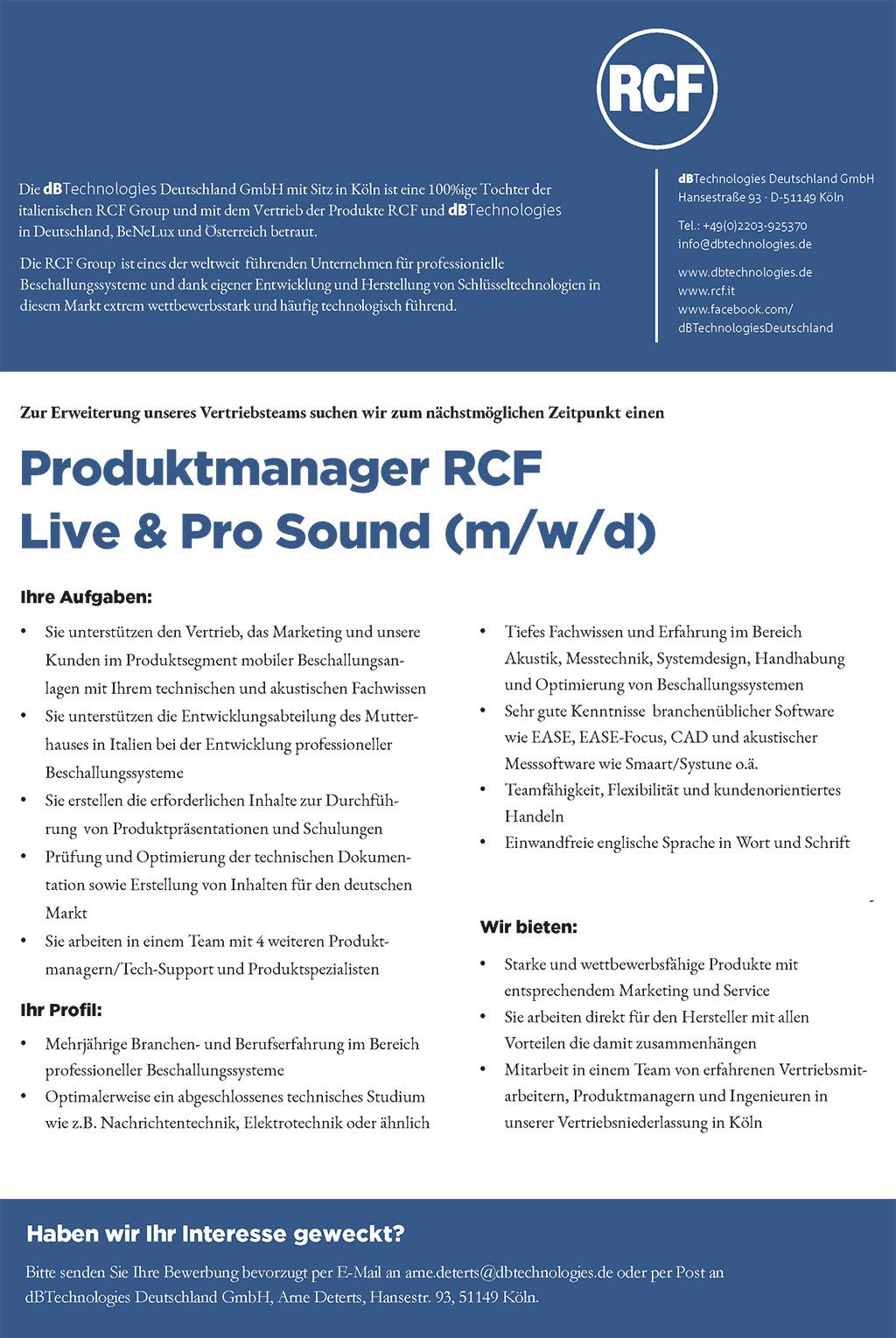 Stellenanzeige RCF: Produktmanager