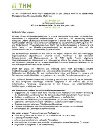 Stellenausschreibung Technische Hochschule Mittelhessen