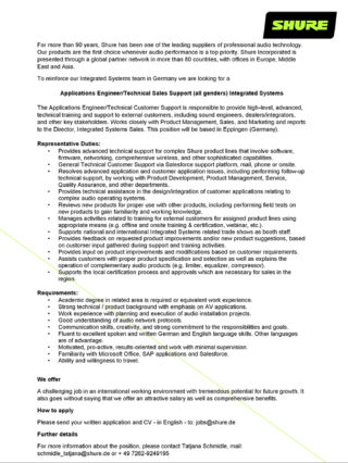 Stellenanzeige Shure Applications Engineer Systems