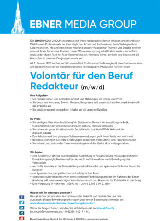Stellenanzeige Volontär (print/online) für die PRO-Gruppe Musik-Media