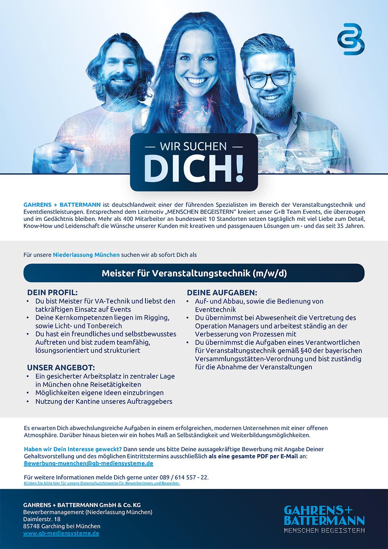 Stellenausschreibung G+B Meister für Veranstaltungstechnik München
