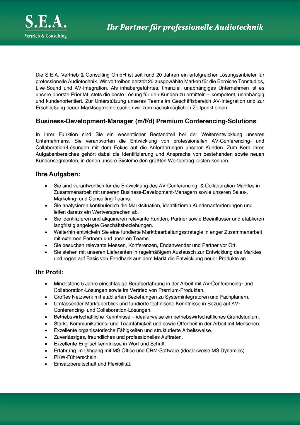 Stellenanzeige SEA BDM Conferencing