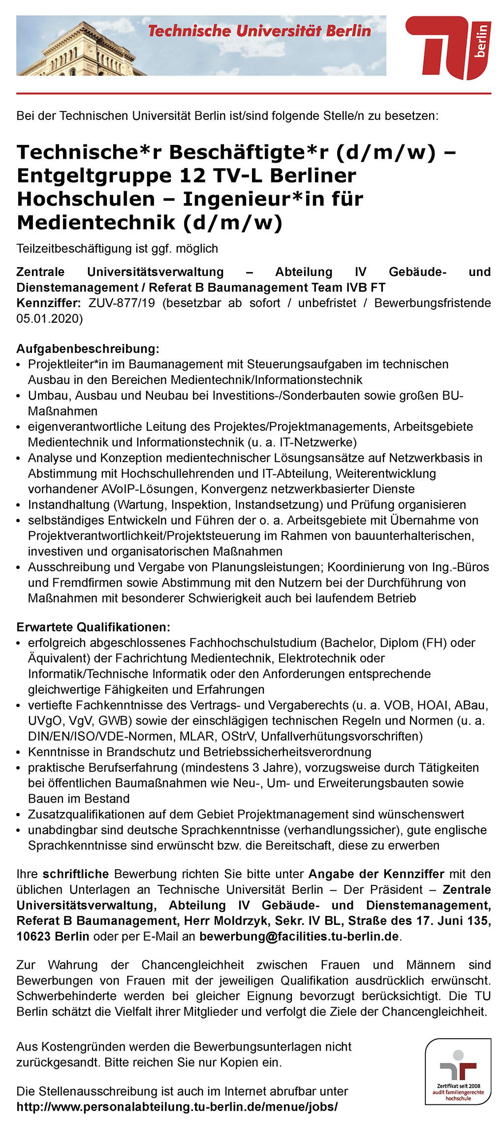 Stellenausschreibung Technische Universität Berlin