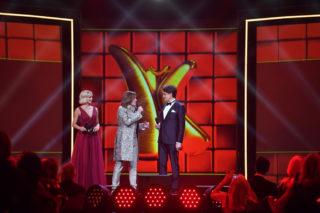 Lisa Loch, Jürgen Drews und Matze Knop auf der Bühne der Kinderlachen-Gala 2019