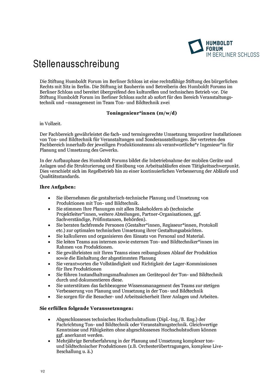 Stellenausschreibung Toningenieur Humboldt Forum Berliner Schloss