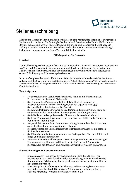 Stellenausschreibung Bildingenieur Humboldt Forum im Berliner Schloss
