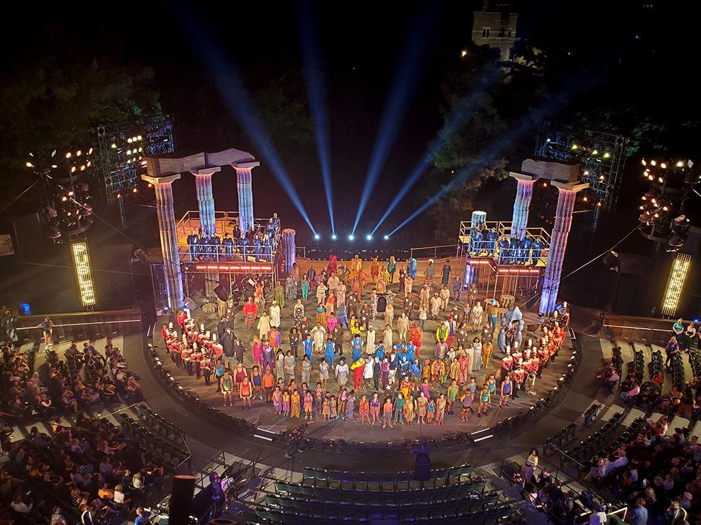Herkules-Produktion im Delacorte Theatre im New Yorker Central Park