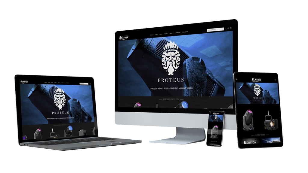 Elation-Homepage auf verschiedenen Devices