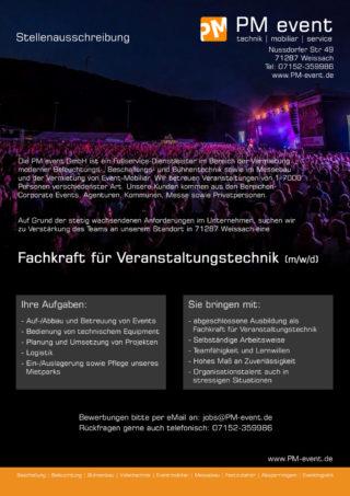 Stellenanzeige PM event GmbH
