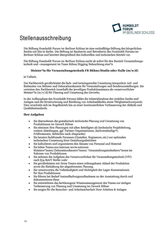 Stellenausschreibung Meister Bühne Studio Halle Humboldt Forum Berlin