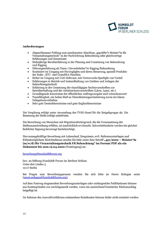 Stellenausschreibung Beleuchtungsmeister Stiftung Humboldt Forum im Berliner Schloss