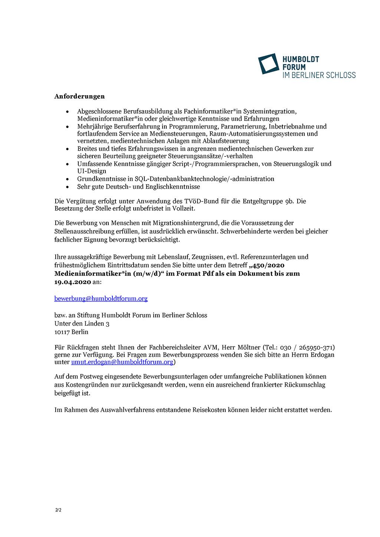 Stellenausschreibung Medieninformatiker Stiftung Humboldt Forum im Berliner Schloss