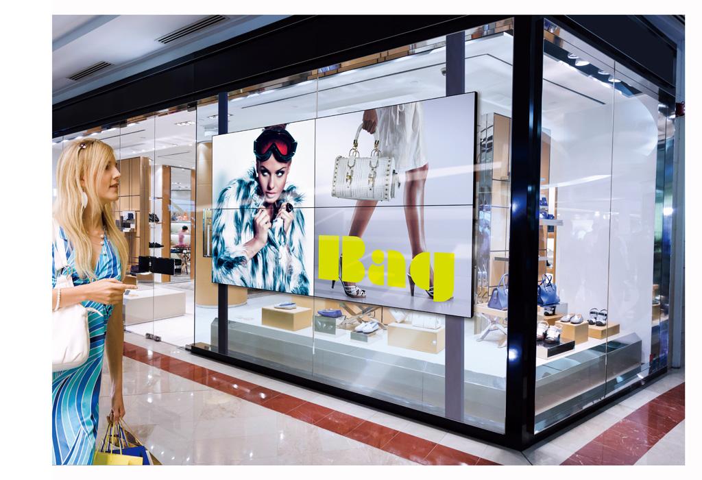 Anwendungsbeispiel für LCD-Videowalls in Retail