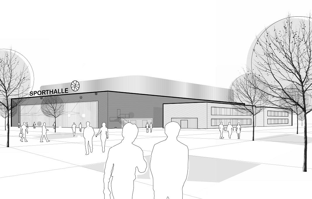 Visualisierung Sporthalle am Tillypark