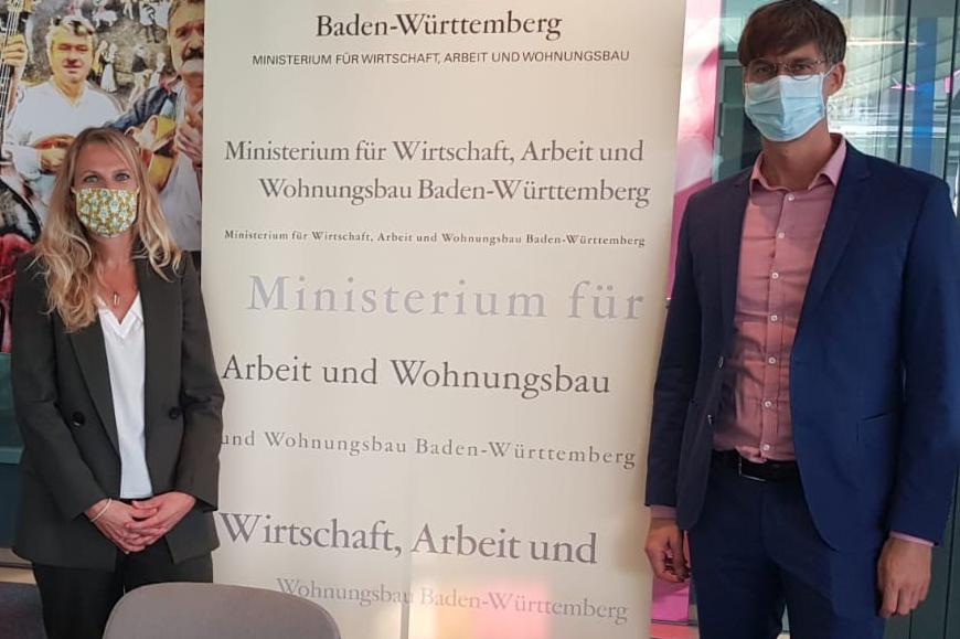 Katrin Endrass, Wirtschaftsministerium Baden-Württemberg, und Sven Hansen, bvvs