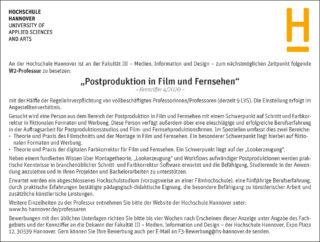 Stellenanzeige Hochschule Hannover W2-Professur Postproduktion Film und TV