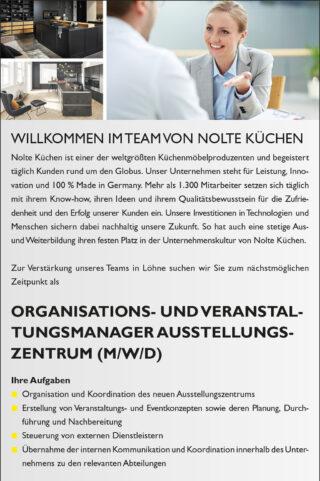 Stellenausschreibung Nolte Küchen Organisations- und Veranstaltungsmanager Ausstellungszentrum