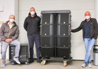 Steffen Luuk (Sales Manager DACH, L-Acoustics), Phillip Wallraf (Inhaber, Wallraf Veranstaltungstechnik), Jürgen Höcker (Außendienst, Babbel & Haeger)