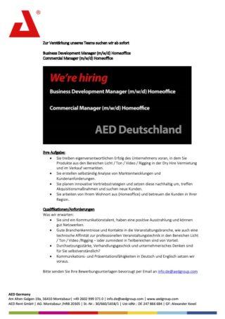 AED Stellenanzeige Business Development und Commercial Manager