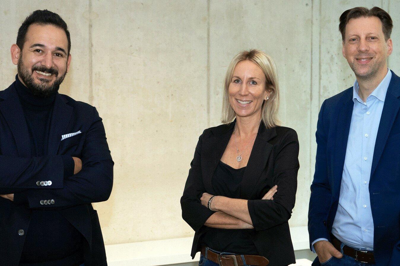 Mit Sabrina Musenbrock und Levent Günes (l.) komplettiert Europa-CEO Rüdiger Maeßen (r.) sein Führungsteam im Kölner Uniplan Hauptquartier.